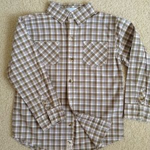 Janie and Jack plaid double pocket dress shirt 5t